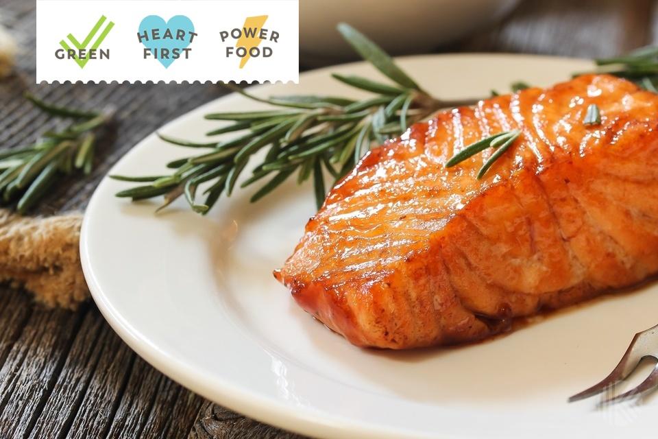 Pan fried salmon with Rosemary garnish