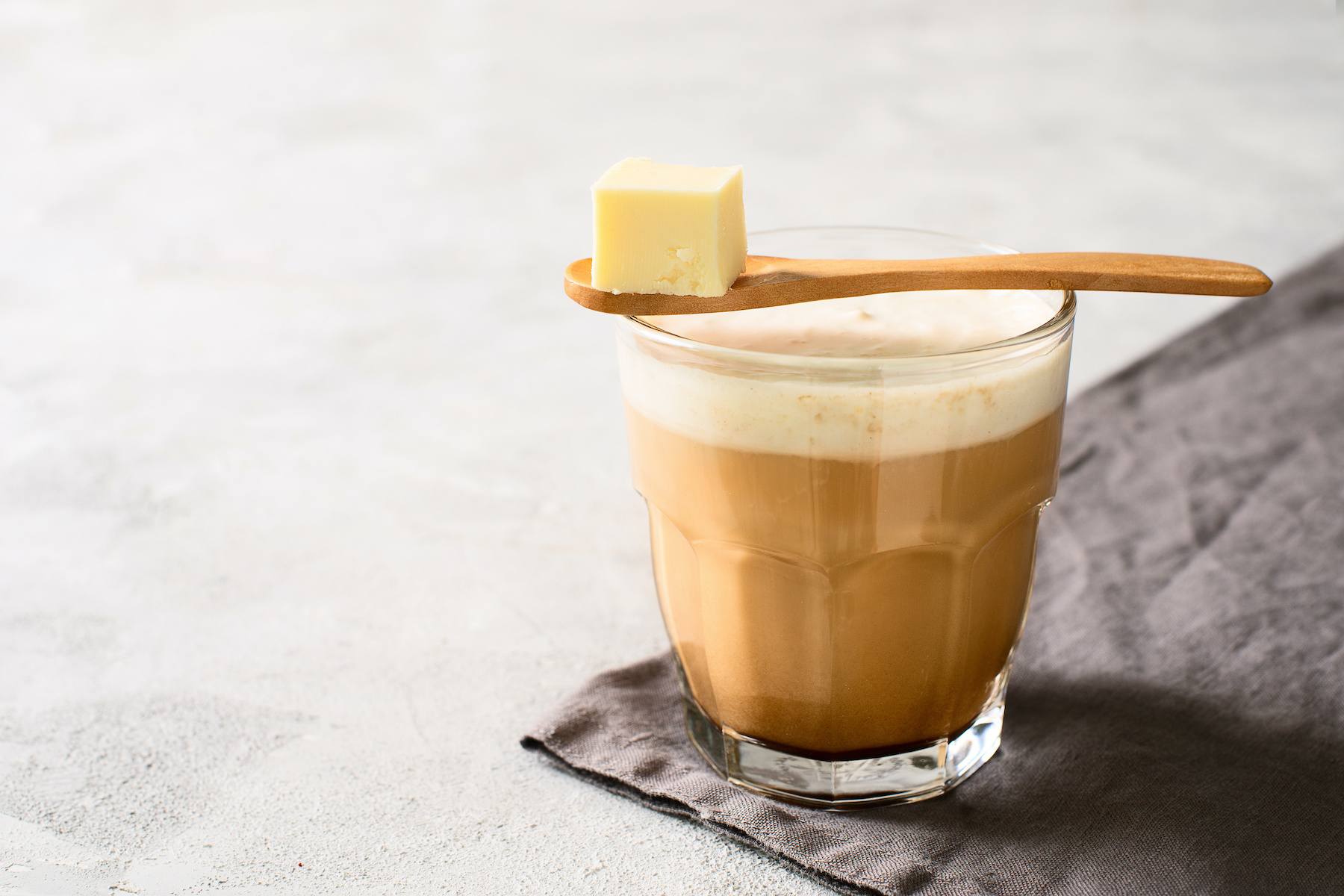 A cup of bulletproof coffee is a keto friendly breakfast