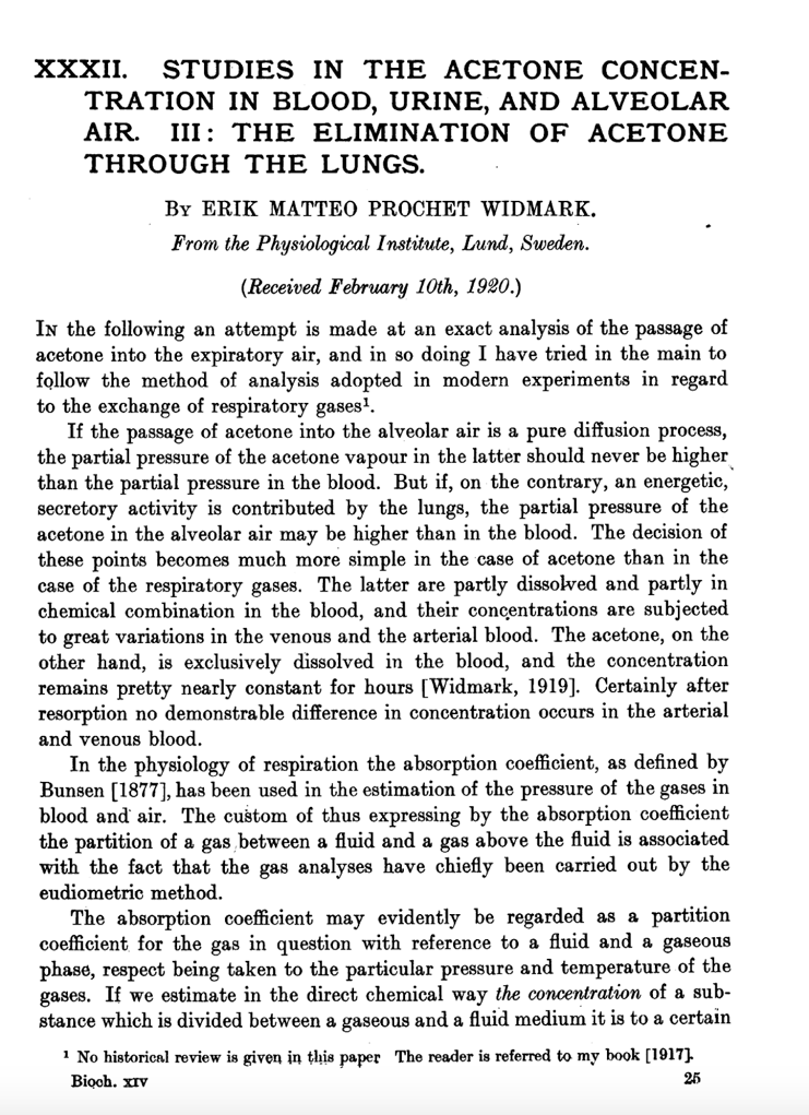 An excerpt of Dr. Widmark's paper on breath acetone